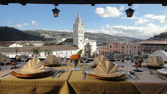 stunning views of colonial quito from hotel real audiencia restaurant