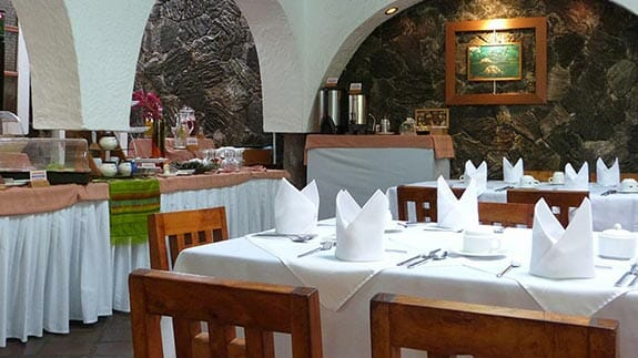 hotel silberstein buffet breakfast restaurant, santa cruz island galapagos