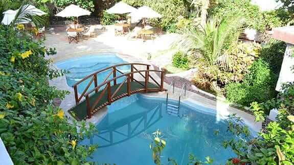 swimming pool at hotel silberstein, puerto ayora galapagos