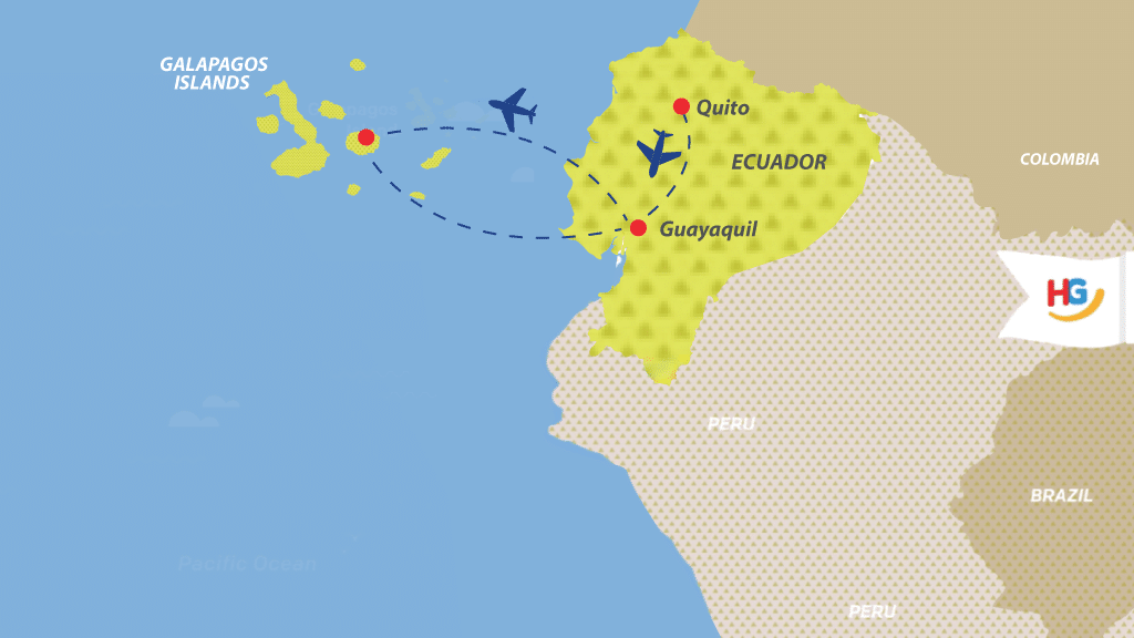 map of how to get to galapagos from Ecuador