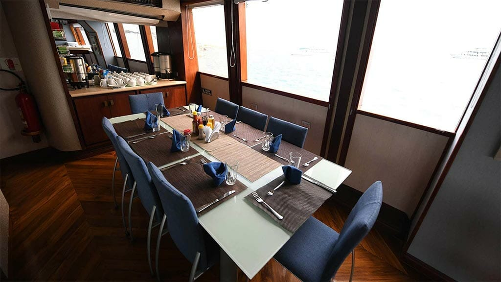 dining table and coffee station on the Humboldt Explorer yacht