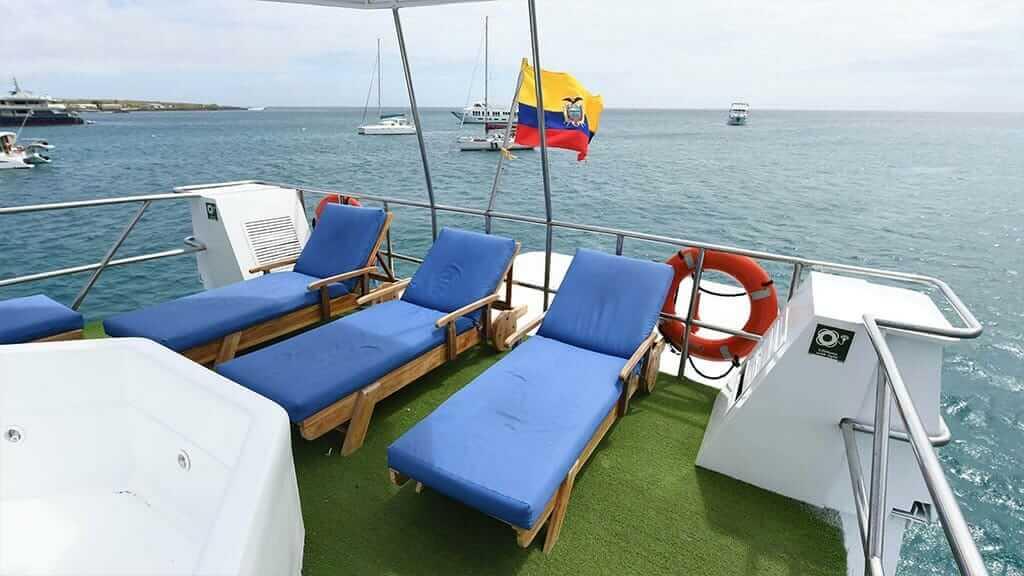sun deck loungers aboard the Humboldt Explorer yacht at Galapagos