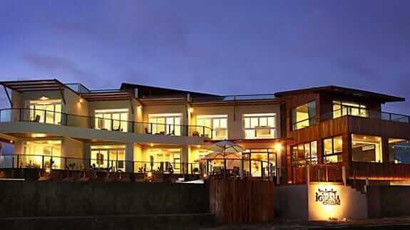 exterior facade of the Iguana Crossing Hotel, Puerto Villamil, Isabela, Galapagos islands
