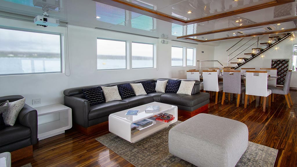Modern lounge area aboard the infinity yacht