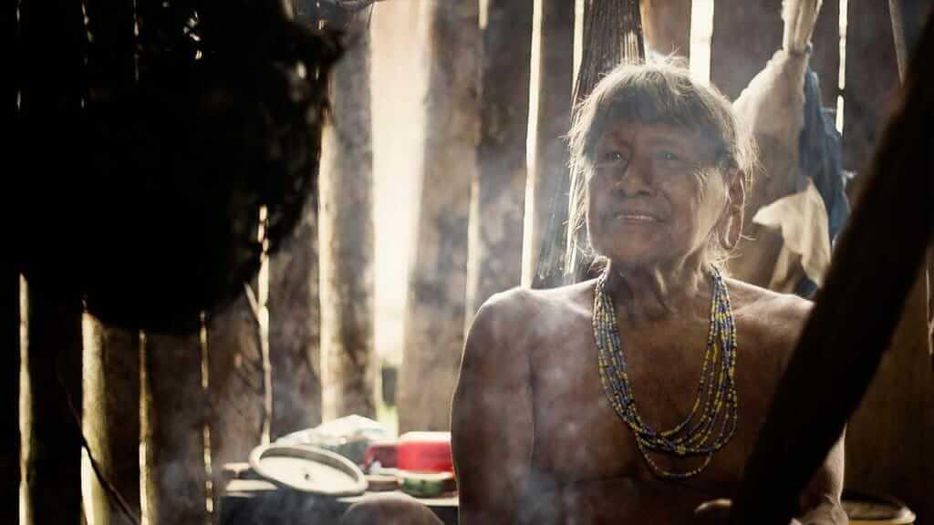 portrait of a Haourani tribesman in his hut - Ecuador Amazon rainforest