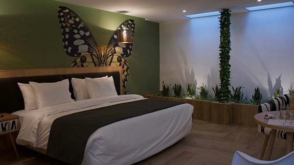 kaia hotel quito ecuador - double room with king bed and butterfly