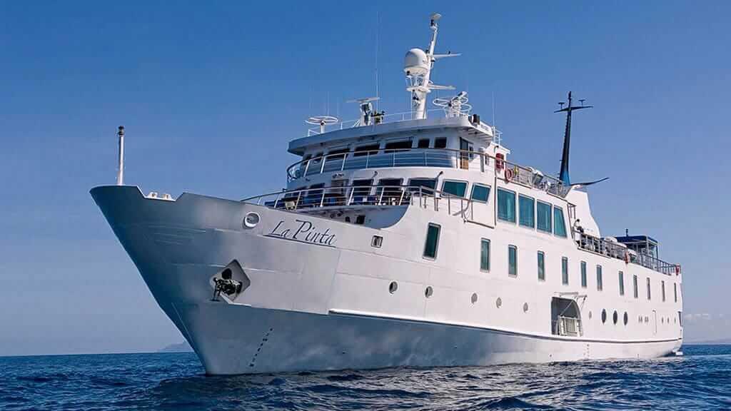 side on view of La Pinta Galapagos cruise ship