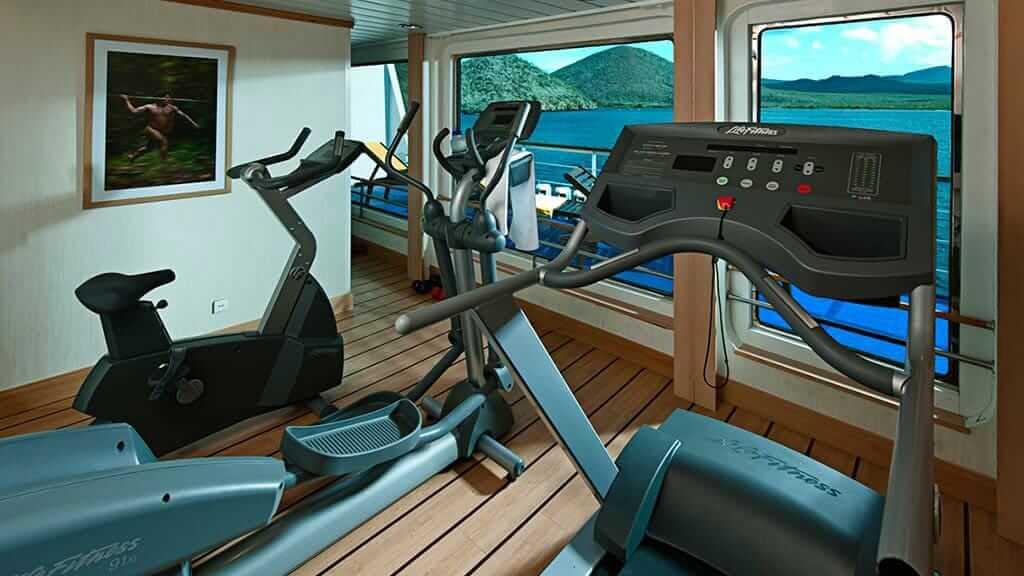 La Pinta cruise ship - gymnasium with ocean view