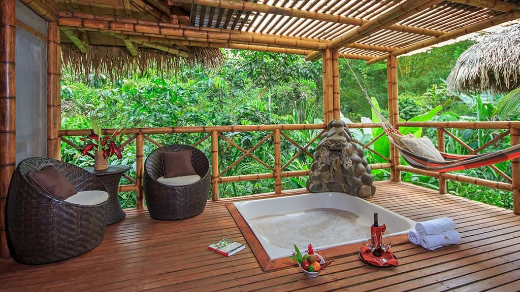 inviting jacuzzi hot tub in the amazon rainforest for guests at La Selva lodge