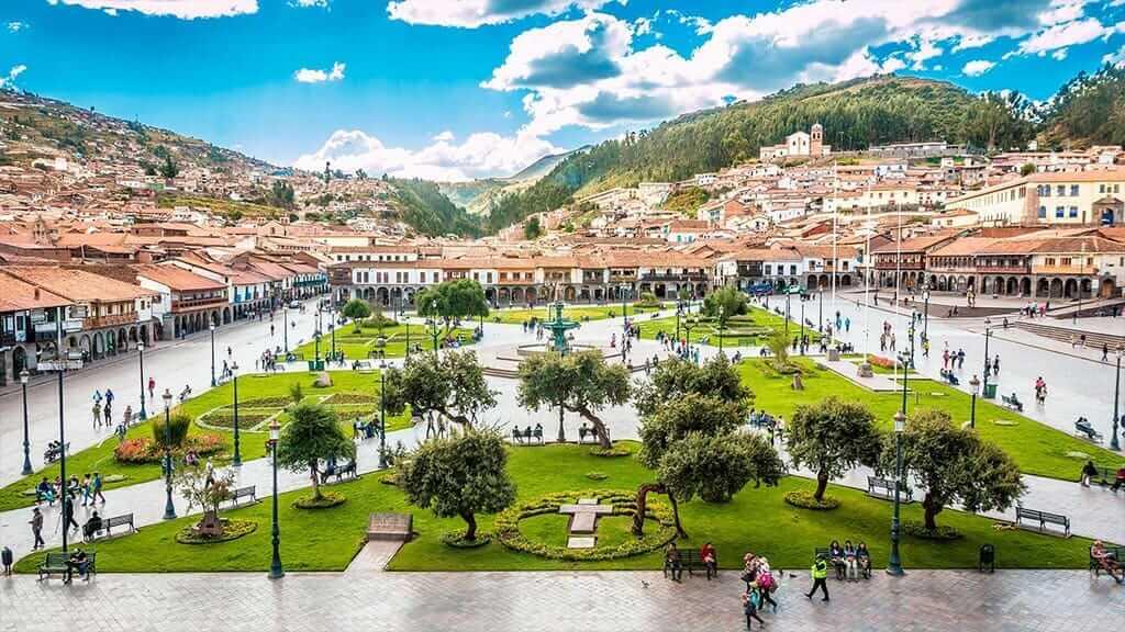 aerial plaza of cusco peru
