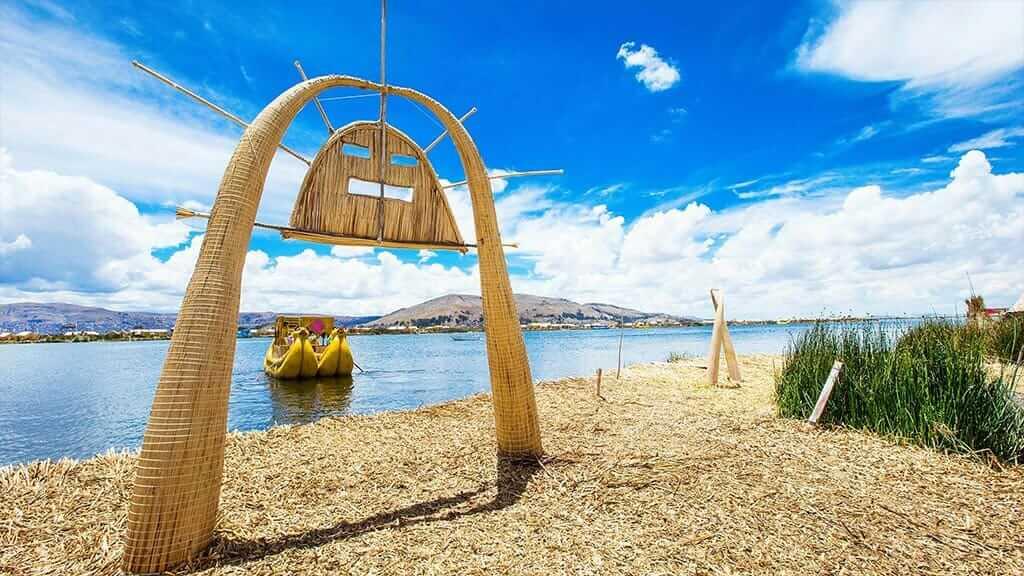 straw arch on uros island lake titicaca peru