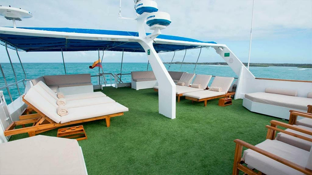 Large sun deck with loungers on the Letty yacht