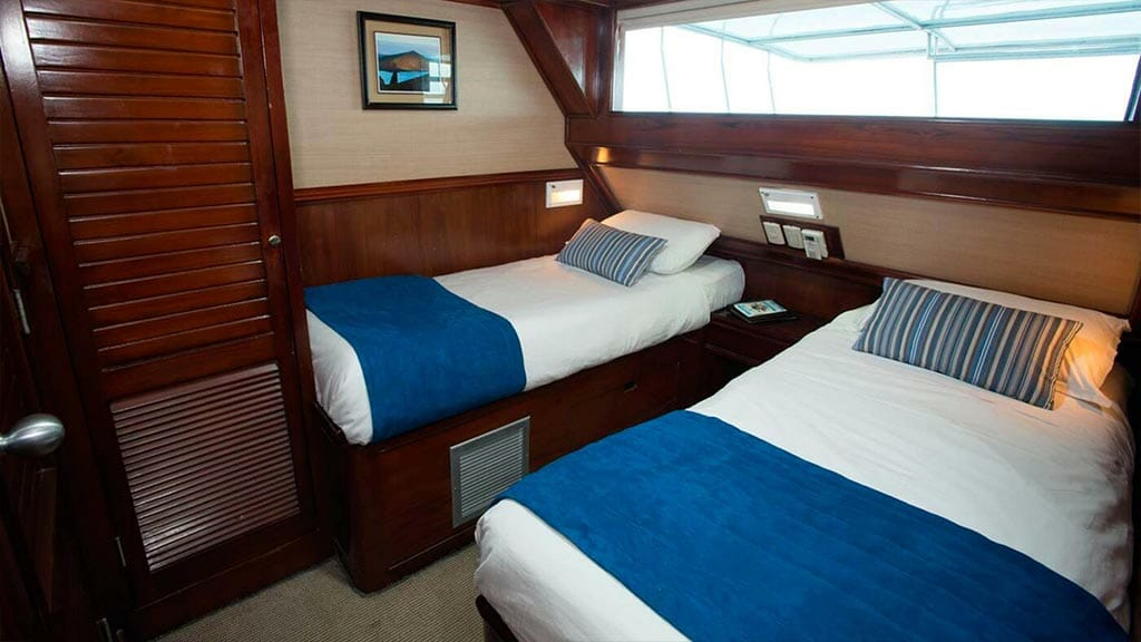 Twin bed cabin aboard the Letty Galapagos yacht