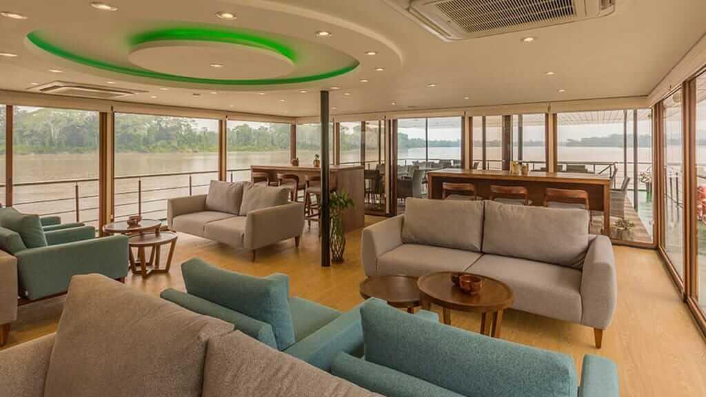 Manatee amazon Explorer Cruise ecuador - guest social area with comfy sofas