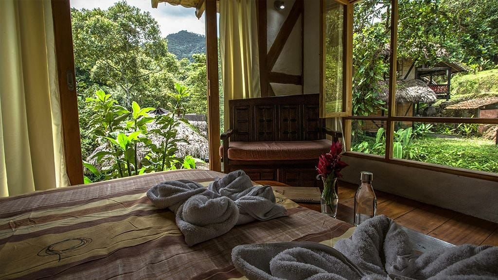 double guest bedroom at maquipucuna lodge cloud forest ecuador