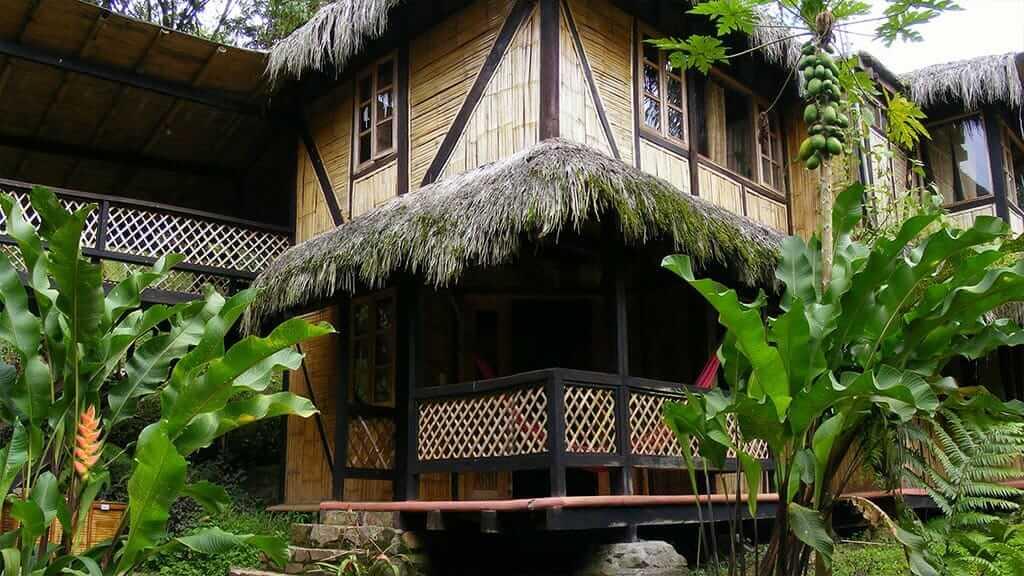 bamboo facade of maquipucuna lodge ecuador