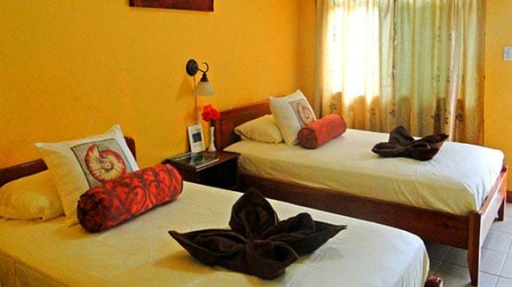 twin bed room at Hotel Mar Azul, baquerizo moreno, San Cristobal island, Galapagos