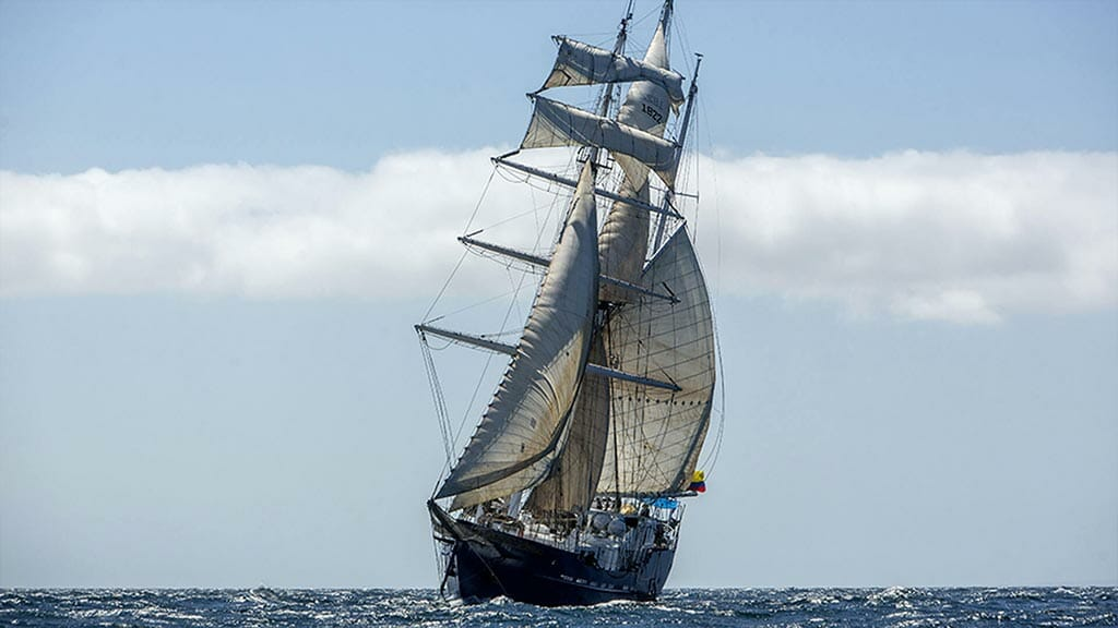 front view of the mary anne Galapagos yacht with sails up