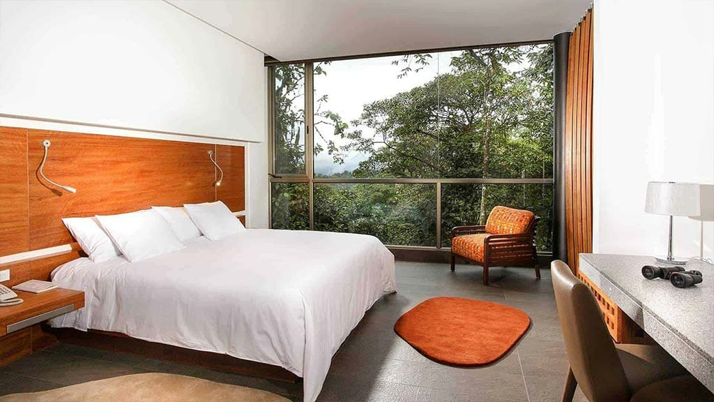 luxury mashpi lodge double room overlooking the ecuador cloud forest