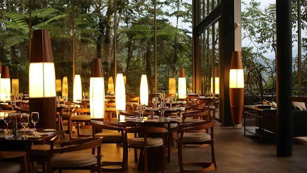ecuador mashpi lodge restaurant at night