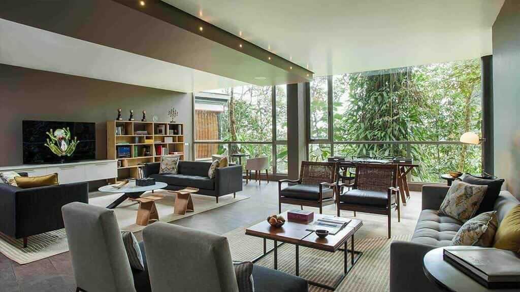 social lounge for guests at mashpi cloud forest lodge ecuador