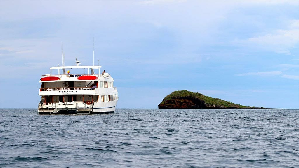 rear view of the Millenium yacht at the Galapagos islands