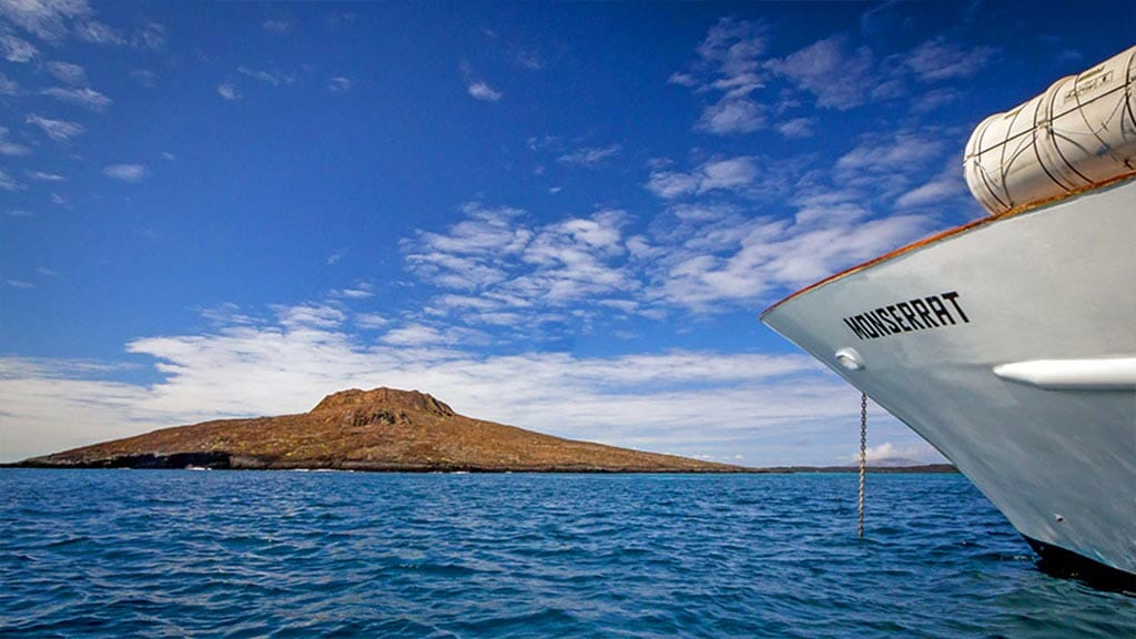 the Monserrat yacht anchored at Sombrero Chino island Galapagos