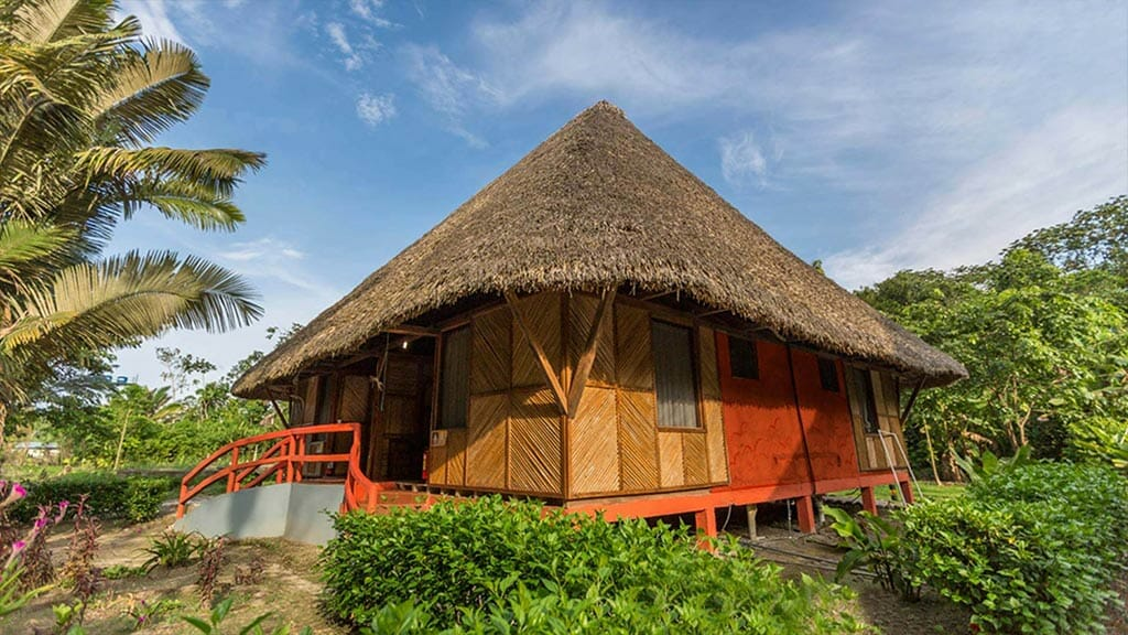 Napo cultural center rustic style thatched bamboo cabin in golden light
