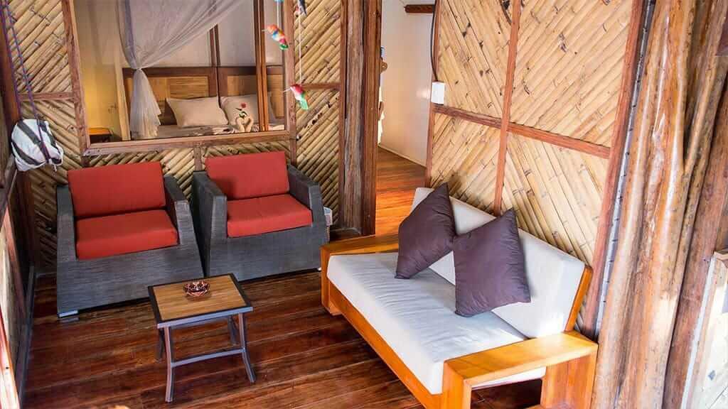 guest lounge area at Napo cultural center ecuador