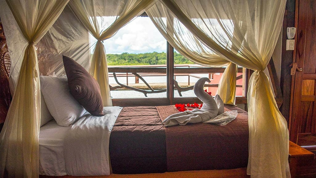 napo wildlife center lodge guest cabin with balcony overlooking river and rainforest