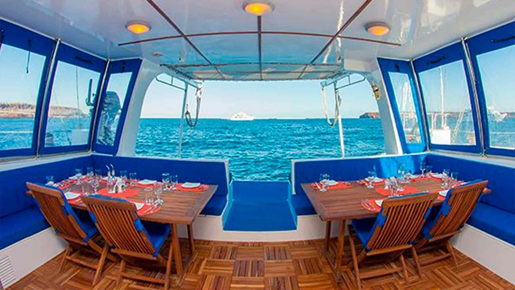 nemo 2 yacht galapagos cruise - alfresco dining with ocean views