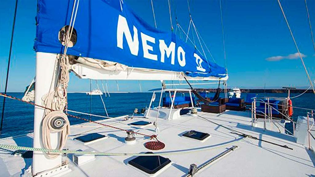 nemo 2 catamaran yacht upper deck with sails