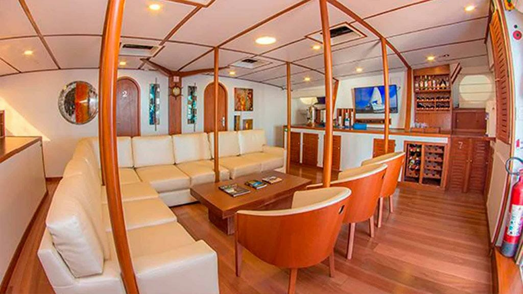 nemo 2 yacht galapagos cruise - indoor social lounge