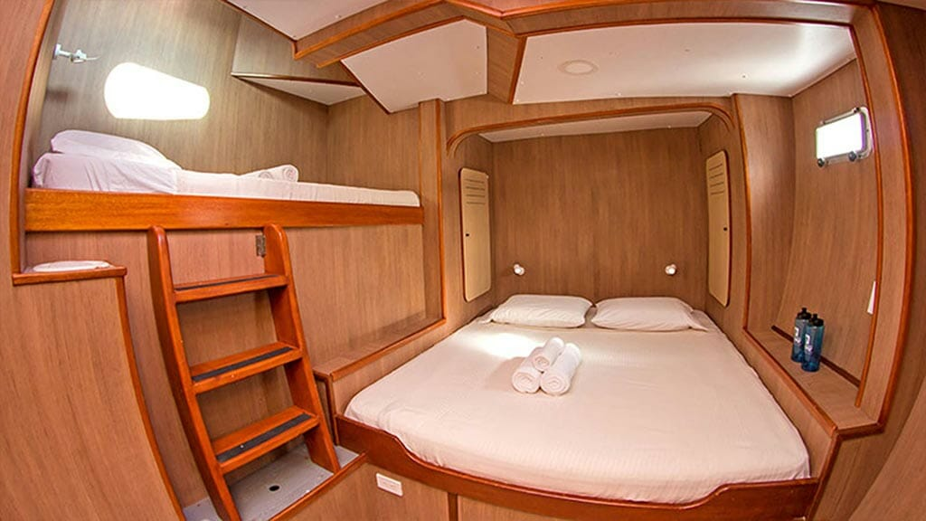 Double bed guest cabin on the nemo 3 galapagos yacht