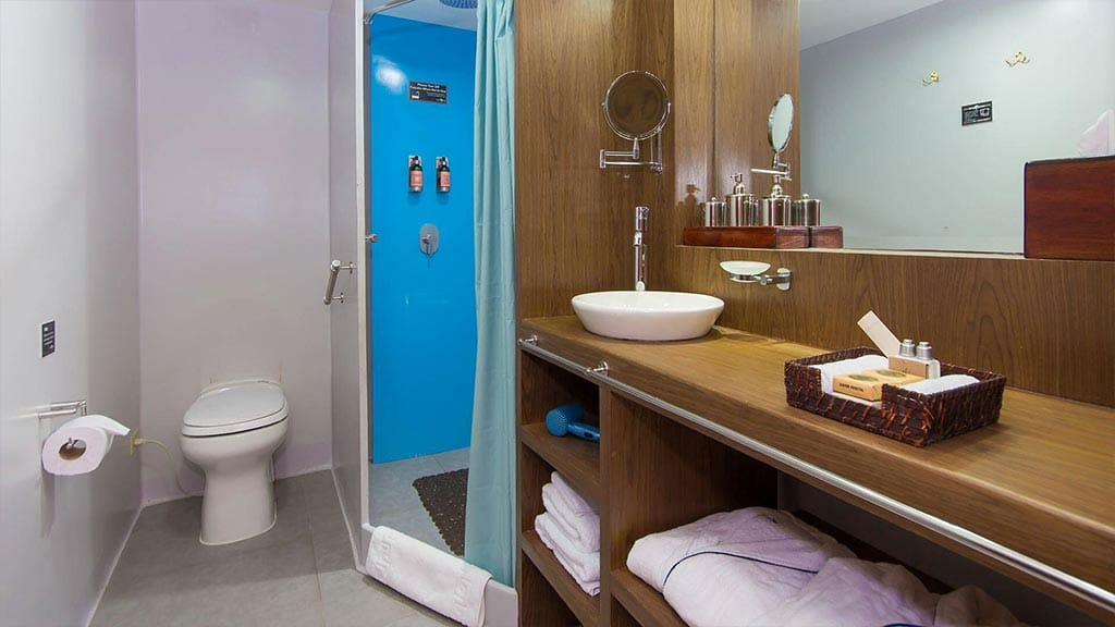 guest bathroom and shower with toiletries included on the ocean spray galapagos yacht