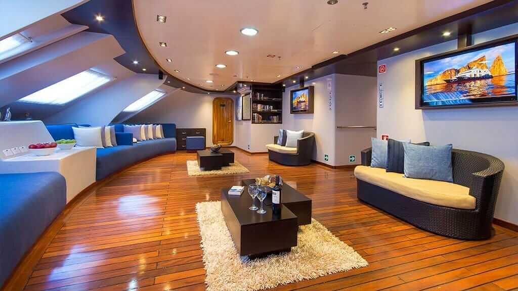 social lounge with tv of the ocean spray galapagos catamaran yacht