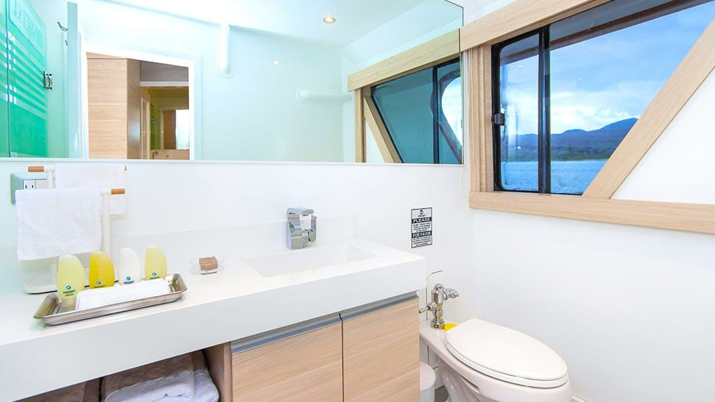 guest bathrooms aboard the Odyssey yacht