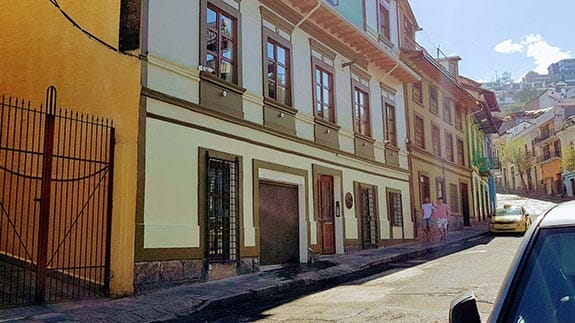 entrance and street view of old town quito suites