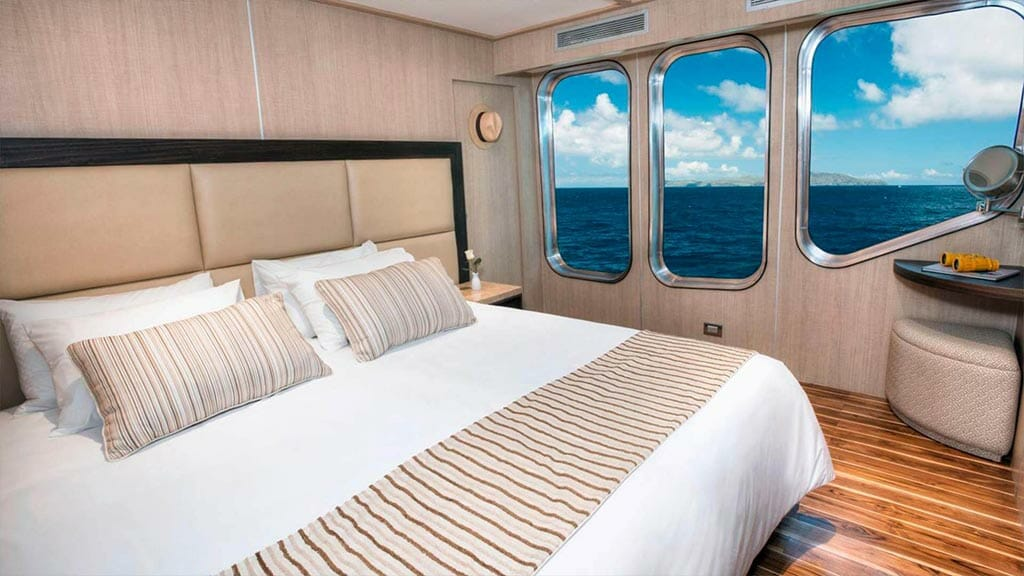 double cabin with wooden flooring and large windows aboard the Origin yacht at Galapagos