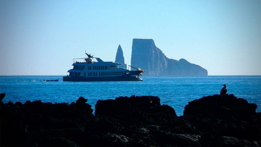 Origin yacht anchored at kicker rock galapagos islands