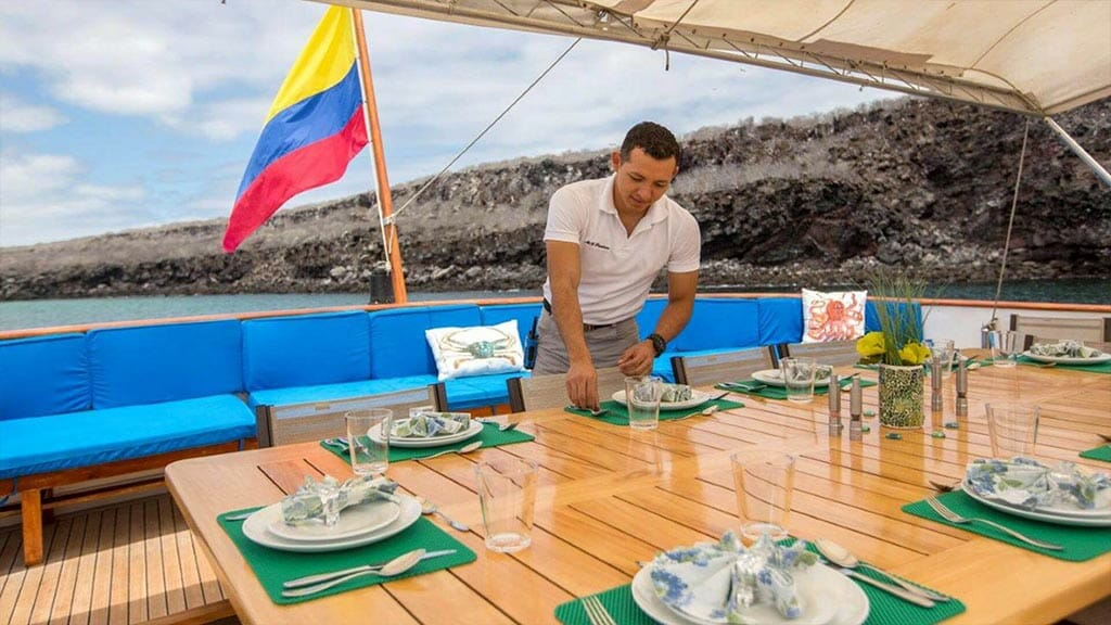 passion yacht - open air al fresco dining area