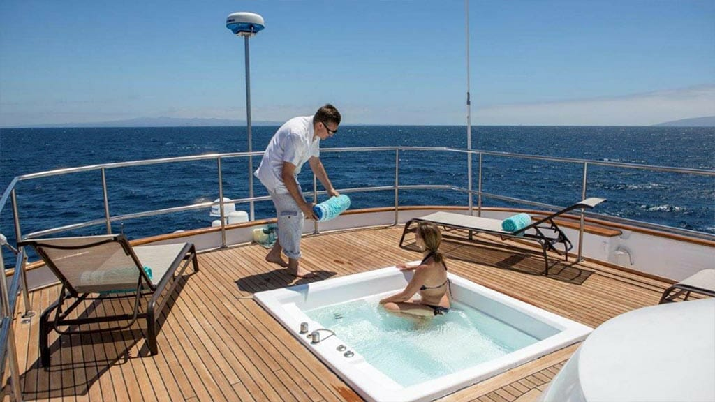 passion yacht - open air jacuzzi hot tub with panoramic galapagos views