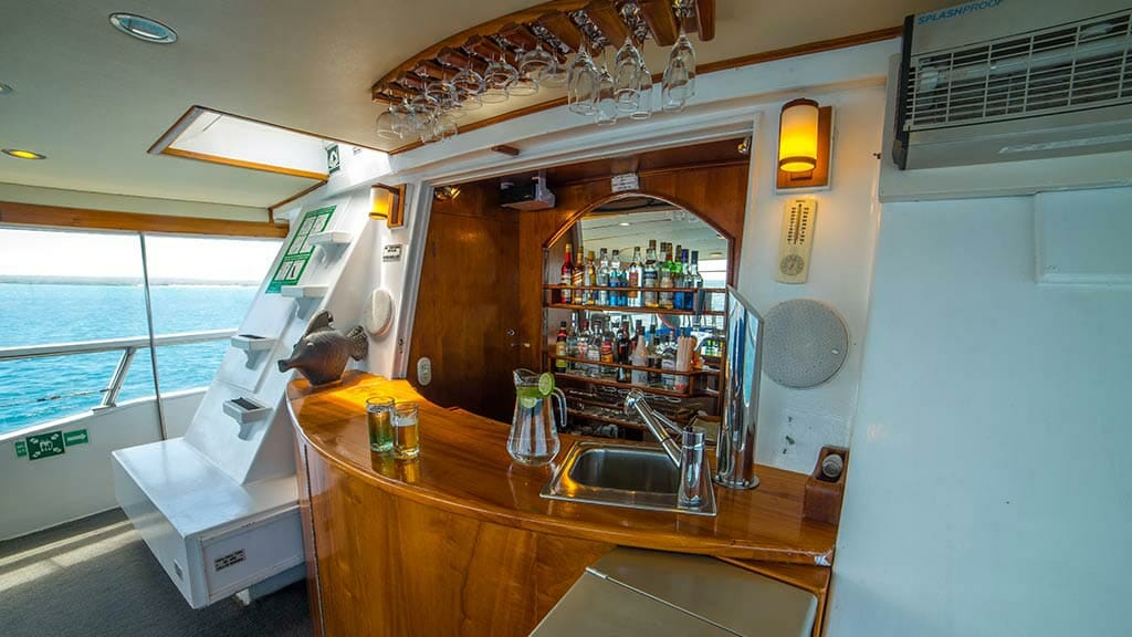 bar area for cocktails aboard the reina silvia galapagos yacht