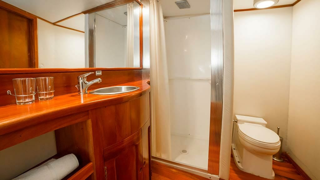 guest cabin bathroom and shower aboard the reina silvia yacht
