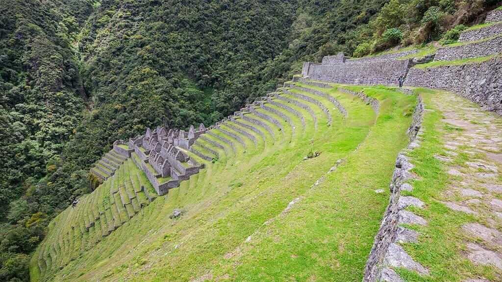 inca terrace ruins on the salkantay treking in Peru