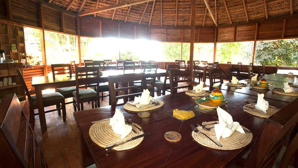 Sani jungle lodge restaurant with dining tables