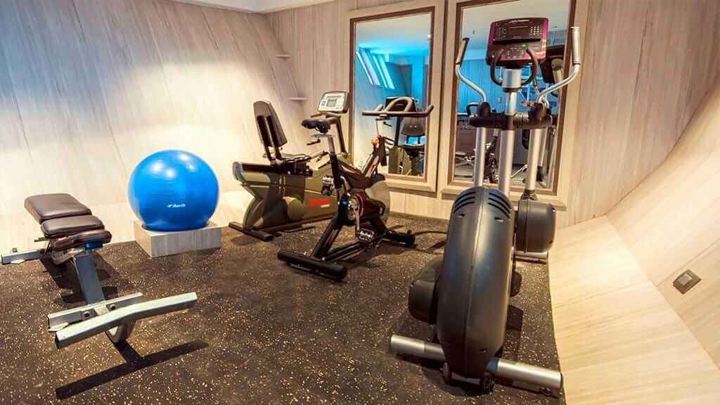 gymnasium with bike and step machine on the Theory cruise