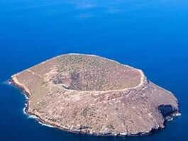 aeriel image of daphne major island galapagos