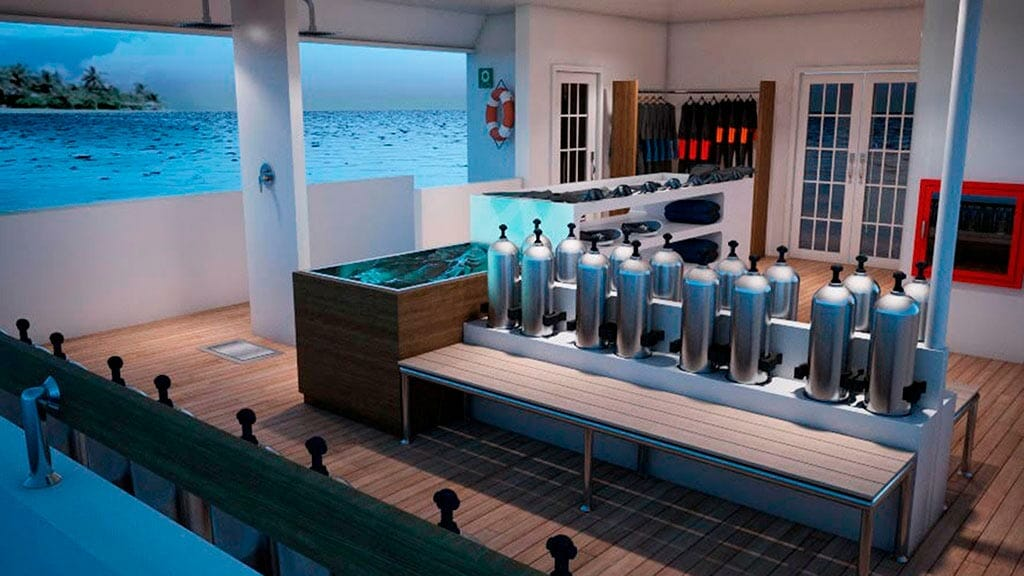 Dive oxygen cylinders and equipment aboard the Tiburon Explorer galapagos yacht