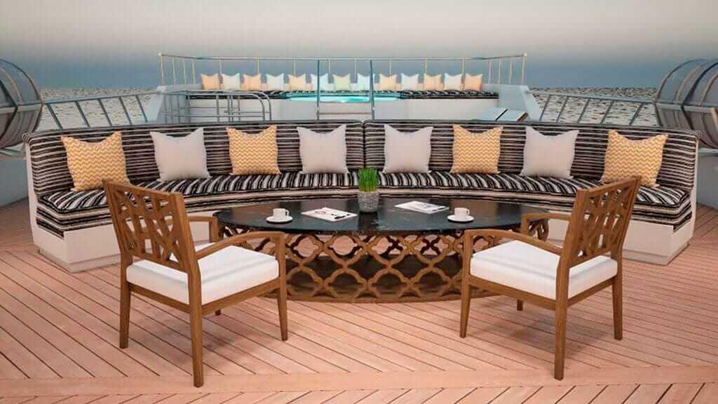 Tiburon Explorer galapagos yacht outdoor lounge with ocean views